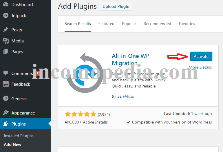 installing and activating all in one wp migration plugin