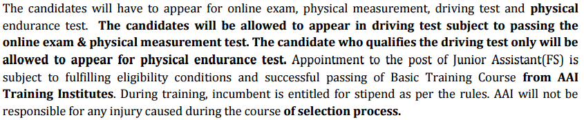 Junior Assistant(Fire Service) Selection Process