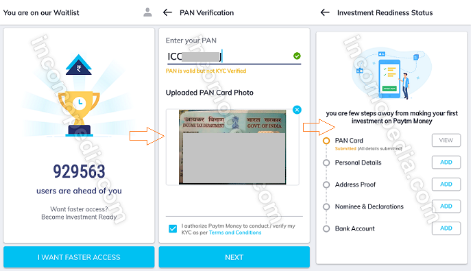 Paytm Money app registration and verification