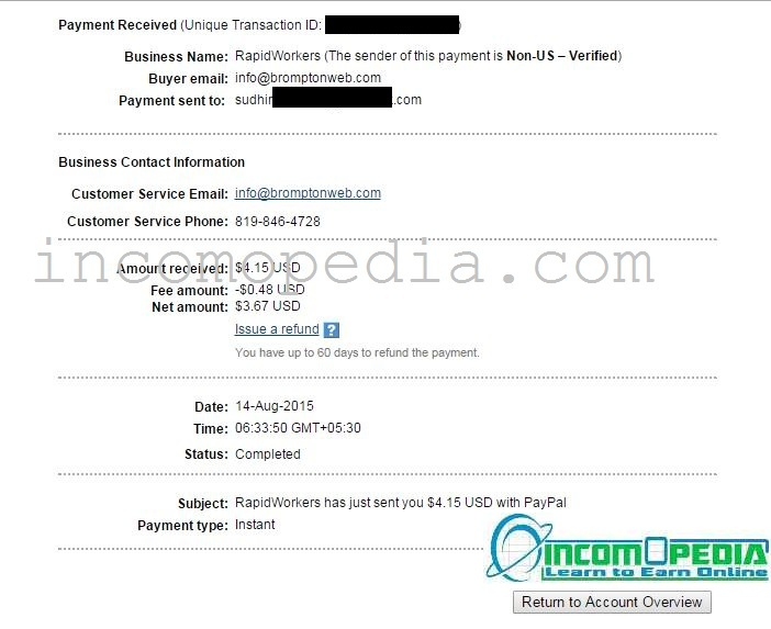 Rapidworkers payment proof