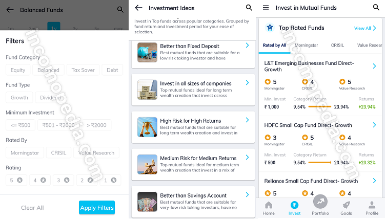 discovering mutual funds schemes in paytm money app