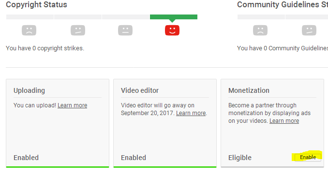 enable monetization in youtube