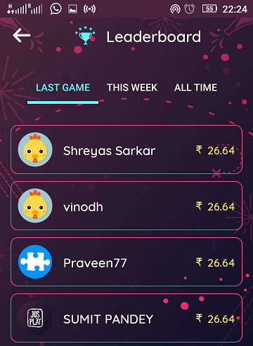 jusplay quiz app leaderboard