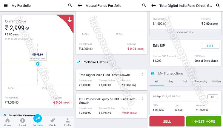 managing portfolio in paytm money app