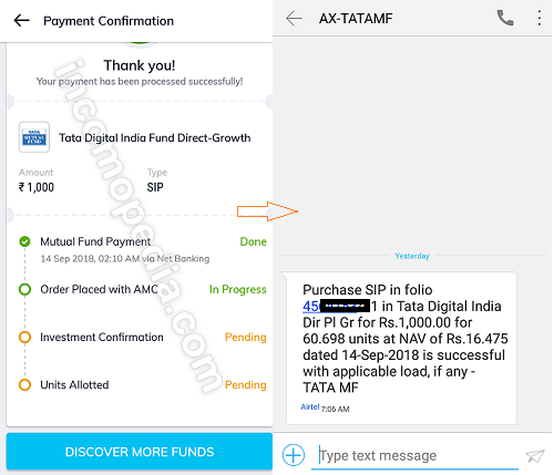 mutual funds payment in paytm money app