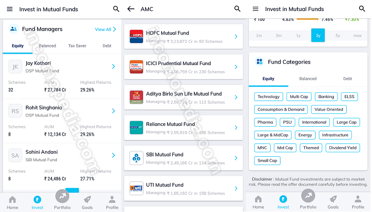 searching mutual funds in paytm money app