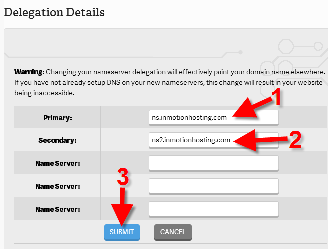 setting up dns nameservers at inmotion hosting