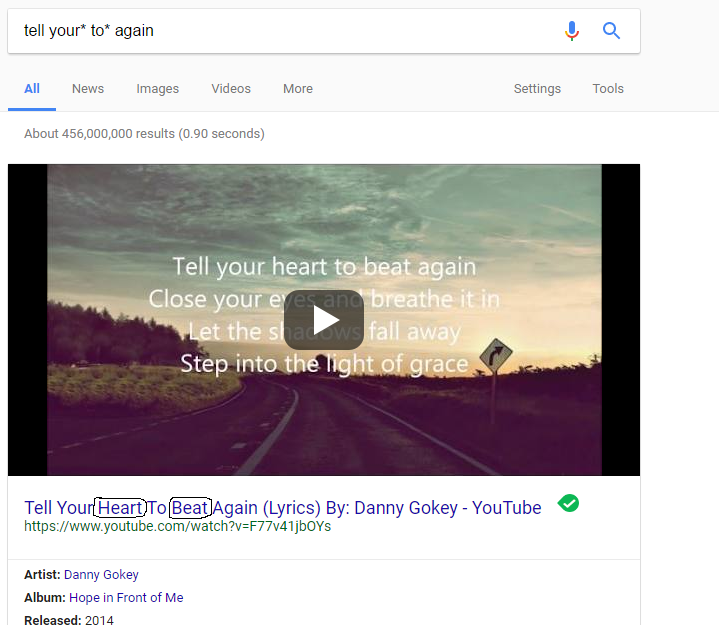 using asterisk in google search